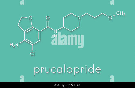 Prucalopride chronic constipation drug molecule. Skeletal formula. - Stock Image