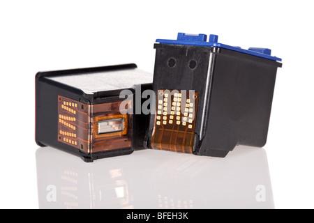Inkjet printer cartridges isolated on a white background - Stock Image