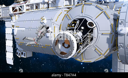 Astronaut entering space station through airlock, cosmonaut in space next to a spacecraft, 3D rendering - Stock Image
