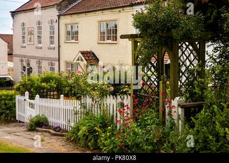 UK, England, Yorkshire, Filey, Hunmanby, Bridlington Street, cottages on village green - Stock Image