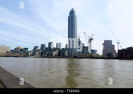 St George's Wharf development which stands on the south bank of the River Thames, London by Vauxhall Bridge - Stock Image