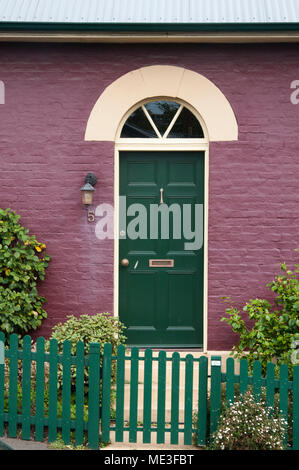 Front door of a colonial Georgian period brick house in Battery Point, Hobart, Tasmania, Australia - Stock Image