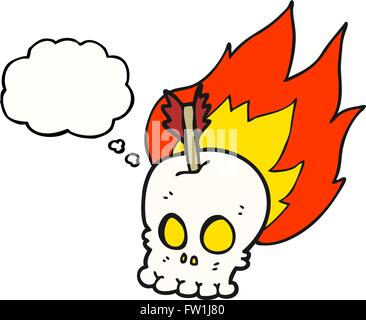 freehand drawn thought bubble cartoon skull with arrow - Stock Image