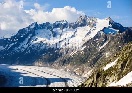 Schoenenbuelhorn and Wannenhorn with aletsch glacier - Stock Image