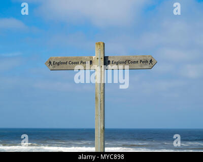England Coast Path National Trail signpost in  North Yorkshire - Stock Image