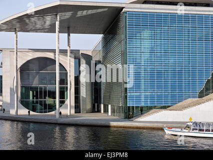 Marie-Elisabeth-Lüders-Haus at the river Spree, viewed from the Reichstag riverside. - Stock Image