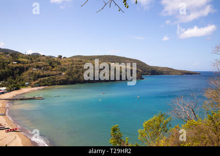 View across a bay in St Lucia, The Caribbean - Stock Image