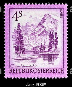 Austrian definitive postage stamp (1973) : Almsee - Stock Image
