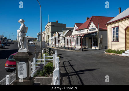 Main street of the town of Stanley in Tasmania with ANZAC memorial - Stock Image