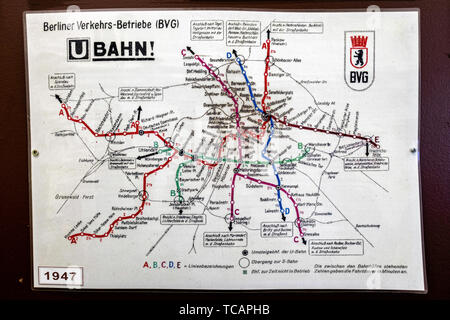U-Bahn Museum Berlin. Transport museum in one of the former historic control rooms at the Olympia Stadium metro station. Old 1947 U-Bahn map The contr - Stock Image