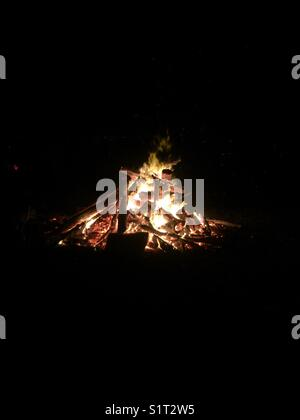 Beach bonfire - Stock Image