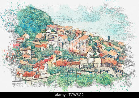 Watercolor sketch or illustration of a view of a small coastal town in Montenegro. - Stock Image