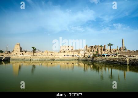 The Sacred Lake, Precinct of Amun-Re, Karnak Temple, Karnak, Luxor, Egypt - Stock Image