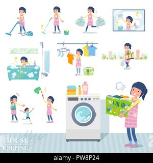 A set of Childminder women related to housekeeping such as cleaning and laundry.There are various actions such as child rearing.It's vector art so it' - Stock Image