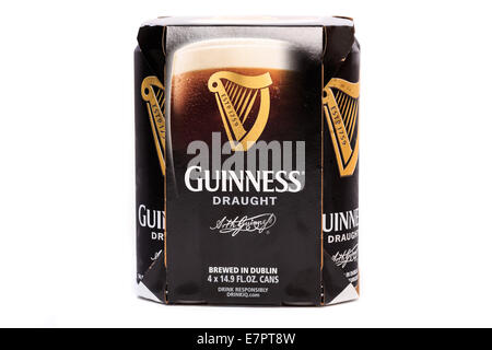 Chilled Guinness Draught beer with condensation on the cans - Stock Image