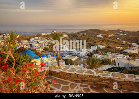 View from the hills in Ios Island, Greece, Cyclades - Stock Image
