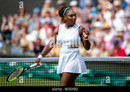 Wimbledon, UK. 11th July 2019, The All England Lawn Tennis and Croquet Club, Wimbledon, England, Wimbledon Tennis Tournament, Day 10; Serena Williams (USA) celebrates as she wins her match against Barbora Zahlavova Strycova (CZE) 2-0 Credit: Action Plus Sports Images/Alamy Live News - Stock Image