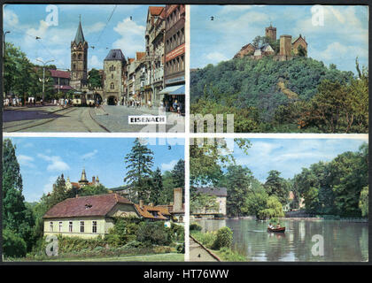 GERMANY - CIRCA 1970: A postcard printed in Germany, shows the landmarks of Eisenach, circa 1970 - Stock Image