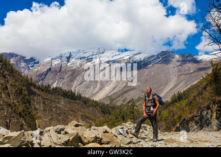 Landscape Himalaya Mountain Background.Hiking Himalayas Beautiful View Panorama.End Summer Season .Green Threes - Stock Image