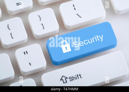 Computer keyboard with security button - Stock Image
