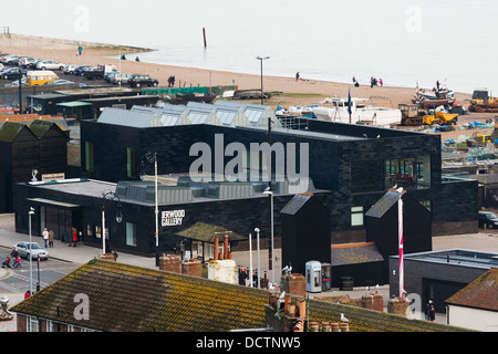 An aerial view of the Jerwood Gallery and surrounding area in Hastings Old Town including the fisherman's net - Stock Image