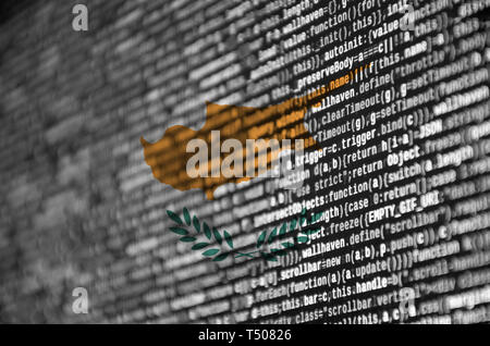 Cyprus flag  is depicted on the screen with the program code. The concept of modern technology and site development. - Stock Image