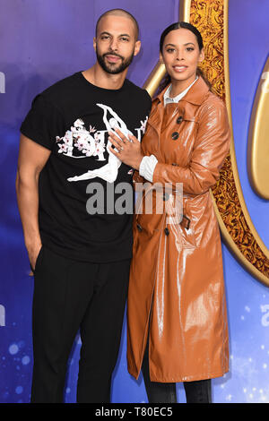 London, UK. 09th May, 2019. LONDON, UK. May 09, 2019: Rochelle Humes & Marvin Humes at the 'Aladdin' premiere at the Odeon Luxe, Leicester Square, London. Picture: Steve Vas/Featureflash Credit: Paul Smith/Alamy Live News - Stock Image