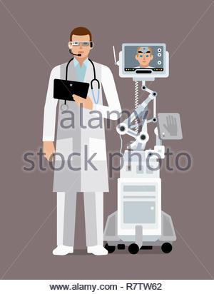 Doctor using digital technology to communicate with colleague - Stock Image
