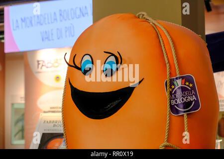 traditional Mortadella Bologna sausage factory mascot character - Stock Image