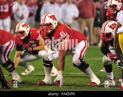 December 19, 2015. OL Tyler Marz #61 of Wisconsin in action during the 2015 National Education Holiday Bowl between - Stock Image