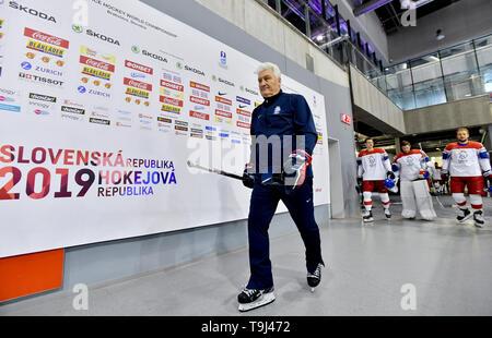 Bratislava, Slovakia. 18th May, 2019. Head coach Milos Riha arrives for an official photographing of the Czech national ice hockey team at the 2019 IIHF World Championship in Bratislava, Slovakia, on May 18, 2019. Credit: Vit Simanek/CTK Photo/Alamy Live News - Stock Image