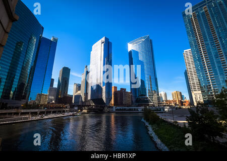 Chicago's skyline is one of the world's tallest and easily ranks among its most magnificent. It boasts four - Stock Image