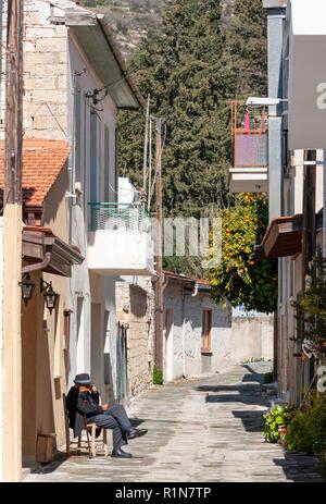 Street scene, Omodos (Troodos Mountains), Limassol District, Republic of Cyprus - Stock Image