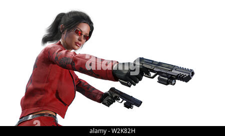 Action girl shooting guns, woman in red leather suit with hand weapons isolated on white background, close up view, 3D rendering - Stock Image