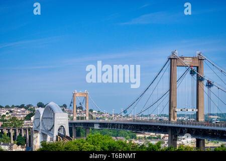The Royal Albert Railway Bridge and beside it the Tamar Road Bridge, Saltash, Plymouth, Devon, UK - Stock Image