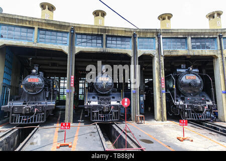 CHANGHUA, TAIWAN - JUL 11, 2013: The Changhua Railway Depot was designated a historic site in 2004. Built in 1922, the fan-shaped depot consists of 12 - Stock Image