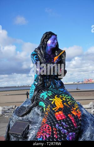 Mermaid On Marine Promenade, New Brighton. - Stock Image