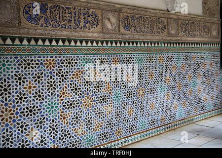 Spain. Seville. Royal Alcazar. Geometric patterns on ceramic tiles. - Stock Image