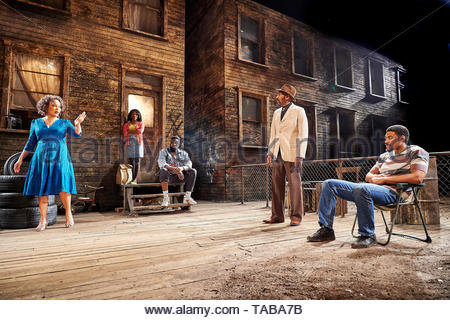 King Hedley II by August Wilson, directed by Nadia Fall.With Martina Laird as Ruby,Aaron Pierre as King Hedley, Cherrelle Skeete as Tonya,Lenny Henry as Elmore,.Opens at Stratford East Theatre on 23/5/19 pic Geraint Lewis EDITORIAL USE ONLY - Stock Image
