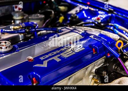 Bielsko-Biala, Poland. 12th Aug, 2017. International automotive trade fairs - MotoShow Bielsko-Biala. Engine of a modified Honda Prelude car. Credit: Lukasz Obermann/Alamy Live News - Stock Image
