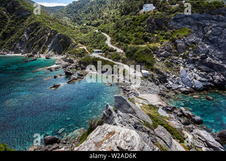 View from Agios Ioannis Chapel, Skopelos, Northern Sporades Greece. - Stock Image