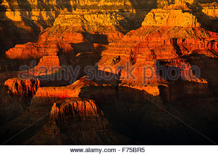 The Grand Canyon viewed from the South Rim at sunset from the Bright Angel Lodge located in Northern Arizona USA. - Stock Image