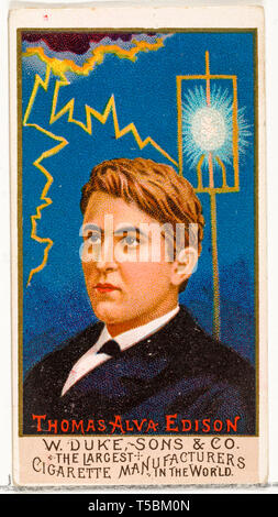 Thomas Edison (1847-1931), cigarette card, portrait, from the series Great Americans, for Duke brand cigarettes ,1888 - Stock Image