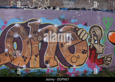 Graffiti on a wall in Sunderland, Tyne and Wear. - Stock Image