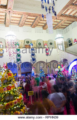 Christmas trees in various styles on display inside the Honolulu Hale during the Honolulu City Lights Christmas celebration, Honolulu, Oahu, Hawaii, U - Stock Image