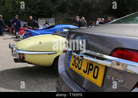 Jaguar E-Type Roadster and XF SV8, British Marques Day, 28 April 2019, Brooklands Museum, Weybridge, Surrey, England, Great Britain, UK, Europe - Stock Image