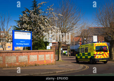 Ambulance entering Worthing Hospital West Sussex - Stock Image