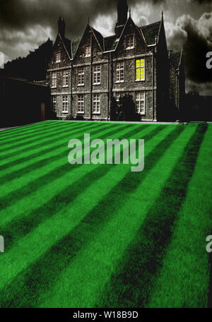 Haunted, House, green,mowed,lawn,lines, Barton manor, Isle of Wight, - Stock Image