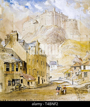 Horatio McCulloch, Edinburgh Castle from the Foot of the Vennel, 1845 - Stock Image