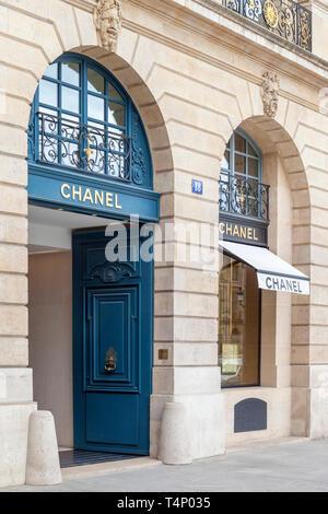 Chanel Store at Place Vendome, Paris France - Stock Image